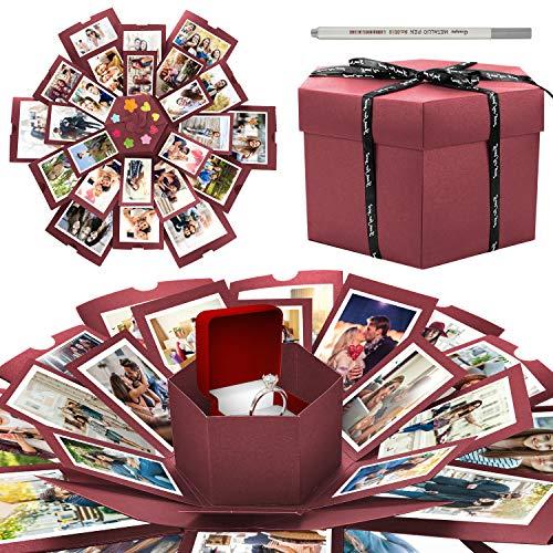 WisFox Überraschung Box, Kreative DIY Handgemachte Überraschung Explosion Geschenkbox Liebesgedächtnis, Scrapbooking Fotoalbum Geschenkbox zum Geburtstag Valentinstag Hochzeit Weihnachtsfest(Rot)