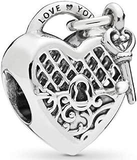 I Love You Lock Charm Key to My Heart Bead fit Pandora Charms Bracelet
