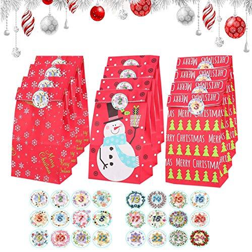 JIASHA Sacchetto Regalo di Natale, Calendario Avvento Natale con 1-24 Adesivi numerici,Conto alla Rovescia per Natale Calendario Regali di Natale Decorazione