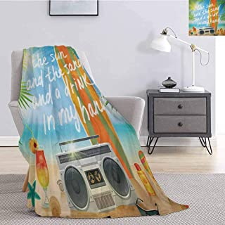 Luoiaax Quote Children's Blanket Retro Design Tropical Beach with Surfboard Palm Leaves Flip Flops and Sunglasses Lightweight Soft Warm and Comfortable W70 x L70 Inch Multicolor