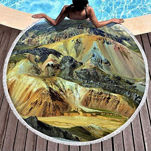 Toalla de playa redonda con flecos, diseño de montaña y Austria, 150 cm, para mujer, niños, para exteriores y viajes, color blanco