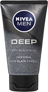 NIVEA Men Deep Anti-Blackhead Face Scrub, with Black Carbon to Cleanse your Skin and Clear away Impurities, 75ml