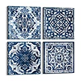Bedroom Decor Canvas Wall Art Indigo Flower Pattern Prints Bathroom Abstract Pictures Modern Navy Framed Wall Decor Artwork for Walls Hang for Bedroom 4 Pieces Wall Decoration Size 14x14 Each Panel