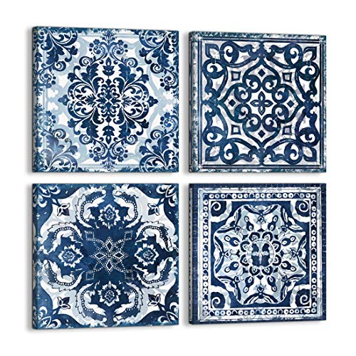 Bedroom Decor Canvas Wall Art Flower Pattern Prints Bathroom Abstract Pictures Modern Navy Framed Wall Decor Artwork for Walls Hang for Bedroom 4 Pieces Wall Decoration Size 14x14 Each Panel