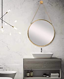 SIMMER STONE 20'' Round Mirror with Hanging Chain, Metal Framed Decorative Wall Mirror, Wall Mount Hook Offered, Gold