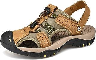 Sandale Hommes de Randonnee Cuir Trekking Sports Outdoor Plage Marche Sandales Respirant Bout Ouvert Sandale Chaussures ét...