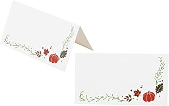 Place Cards - 100-Pack Thanksgiving Small Tent Cards, Foldover Table Placecards, Table Setting Seat Assignment Deocration for Thanksgiving Lunch and Dinner Parties, Pumpkin Design, Folded 2 x 3.5 Inch