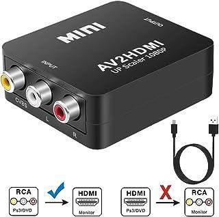JWXL RCA a HDMI, AV a HDMI 1080P Convertidor de vídeo Mini RCA compuesto CVBS Adaptador compatible con PAL/NTSC con USB para PC portátil Xbox PS4 PS3 TV STB VHS VCR cámara DVD