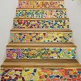 BESTINE 6PCS 3D Pegatinas de Escalera, Ecológicas PVC Autoadhesivas Calcomanías para Escalera Impermeables Extraíbles para Decoración de La Sala Estar Dormitorio del Hogar(18x100cm/7.1x39.4inch) (C)