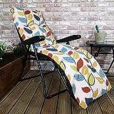 Samuel ALEXANDER Padded Outdoor Garden Patio Recliner/Sun Lounger - Autumn Leaf
