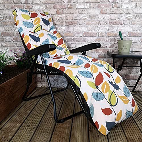 Samuel ALEXANDER Padded Outdoor Garden Patio Recliner/Sun Lounger - Autumn Leaf