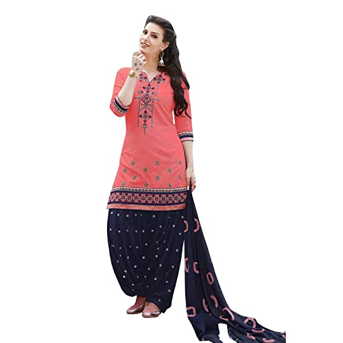 5a5cb67c4 Nivah Fashion Women's Pure Cotton Embroidery Patiyala Salwar Suit (Free  Size_Semi-Stich) G16
