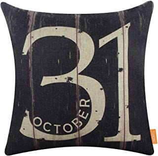 LINKWELL Square Throw Pillow Covers Decorative Cushion Case for Sofa Bedroom Car Couch 18 x 18 Inch - Black October 31 Halloween Decor CC1626
