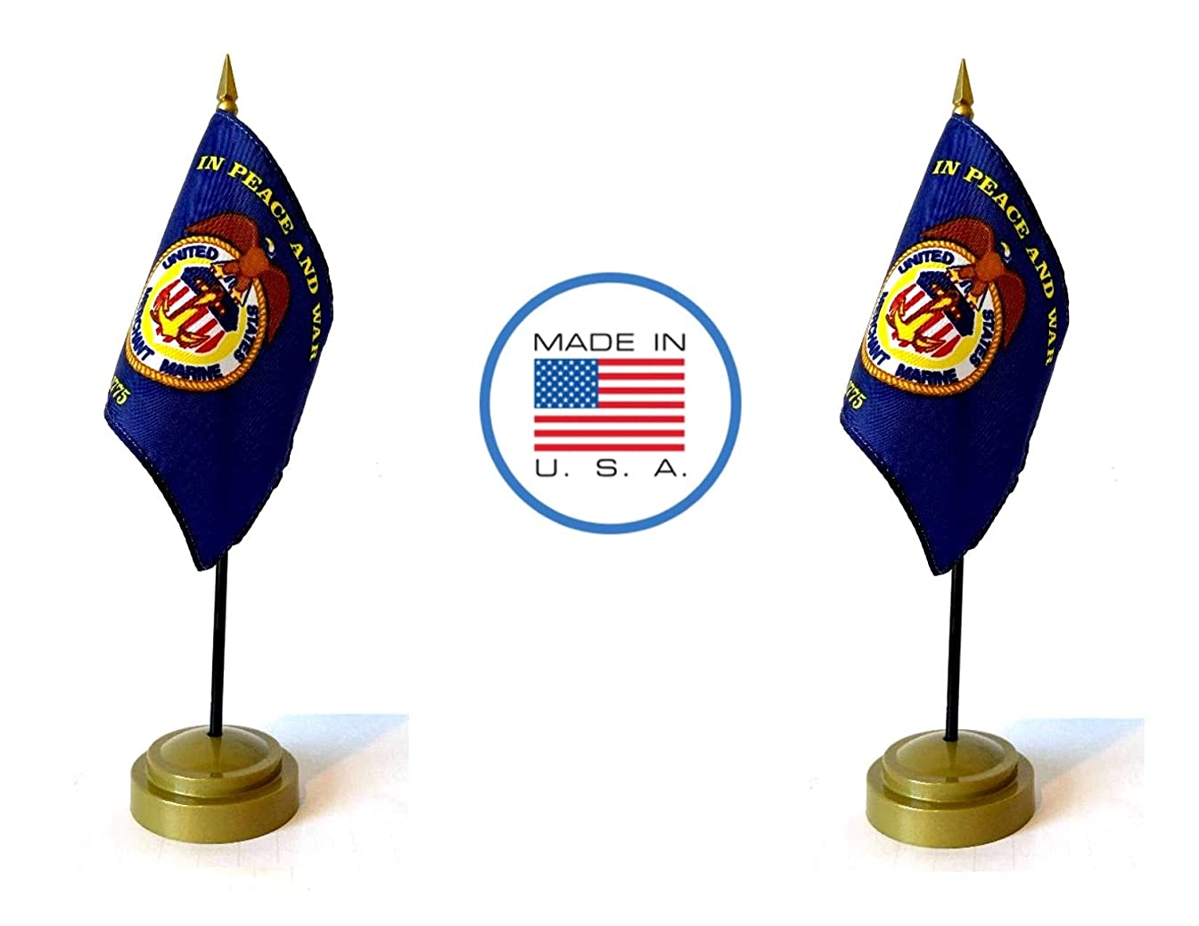 Made in The USA Flag Set. 2 Merchant Marines Rayon 4
