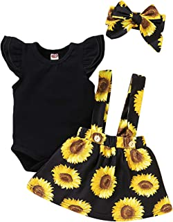 Infant Toddler Baby Girl Summer Outfit Sunflower Strap...