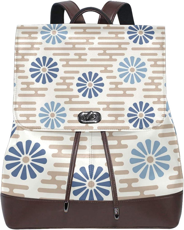 FAJRO Japanese Style Daisy Travel Backpack Leather Handbag School Pack
