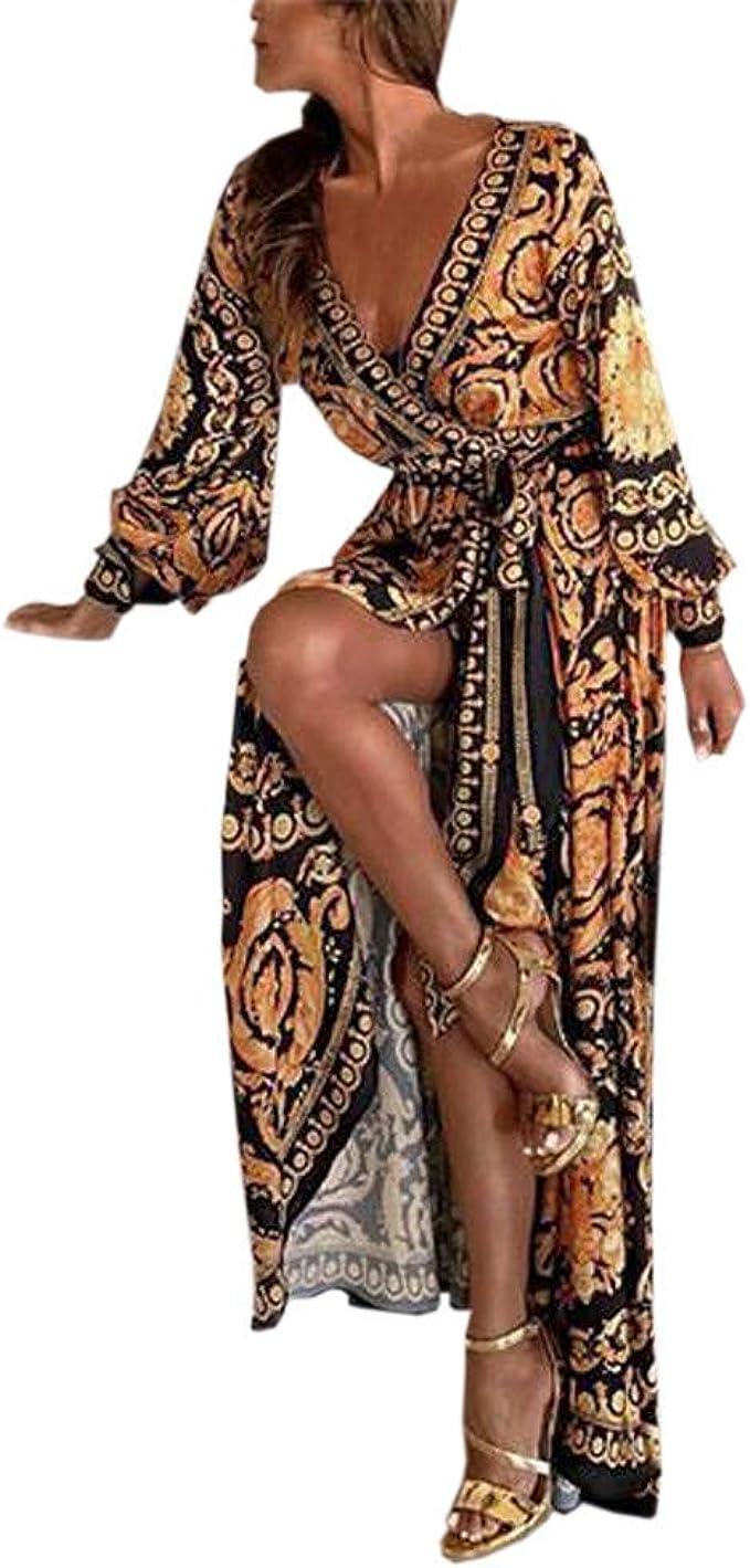 AEMILEN Maxikleider Damen lang Abendkleider mit Ärmel Sommer Kleider  Elegant Sexy MaxiKleid Langarm Freizeit Kleider