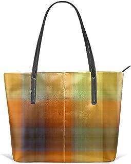 Tutti Frutti Plaid Shoulder Bags Pu Leather Lightweight Work Tote Bag for Women