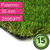 Kunstrasen Rasenteppich Palermo für Garten - Florhöhe 35 mm - Gewicht ca. 2889 g/m² - UV-Garantie 12 Jahre (DIN 53387) - 2,00 m x 1,00 m | Rollrasen | Kunststoffrasen