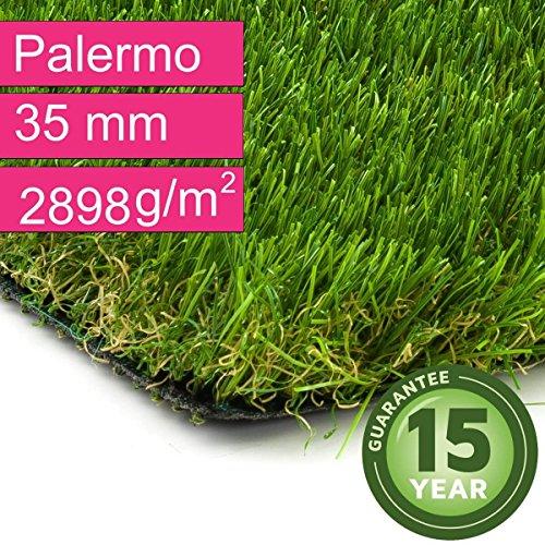 Kunstrasen Rasenteppich Palermo für Garten - Florhöhe 35 mm - Gewicht ca. 2889 g/m² - UV-Garantie 12 Jahre (DIN 53387) - 4,00 m x 2,50 m | Rollrasen | Kunststoffrasen
