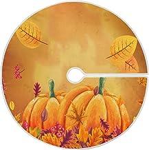 Dussdil Thanksgiving Pumpkin Maple Christmas Tree Skirt 35.4 Inches Autumn Berry Yellow Leaves Xmas Tree Skirts Floor Door...