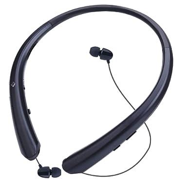 Bluetooth Headphones, Wireless Retractable Earbuds Neckband Headset Sports Sweatproof Earphones with Mic (Jet Black)