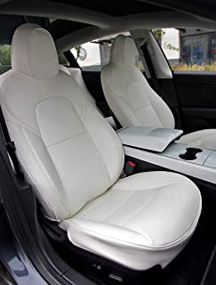 Model 3 Car Seat Cover PU Leather Cover All Season Protection 9pcs for Tesla Model 3 2017 2018 2019 (White)