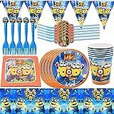 INTVN Minion Juego de Cubiertos Juego de Fiesta servilletas para Vasos de Papel vajilla de Regalo de cumpleaños para niños Que Incluye servilletas de Papel