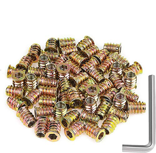 Powlankou 60 Pieces 1/4'-20 x 15mm Furniture Insert Nut, Hex Socket Threaded Insert Nuts with a Hex Wrench
