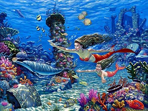 Yingxin34 Rompecabezas para niños 1500 Piezas Adultos Rompecabezas de Madera Ocio Juegos creativos Juguetes Rompecabezas - Sirena y Delfines submarinos Coloridos 87x57cm