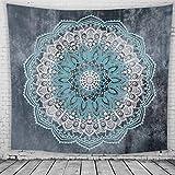 Lihan Tapicería Diseñador Indian Elefante Hippie Mandala de Pared Tapiz Estampado Floral Decoración de la Naturaleza del Hogar para Grande Picnic Mantel, Mandala 4 150 * 130cm/59 * 51inch