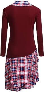Plaid Mini Dress for Women Tartan Irregular Retro Asymmetrical Hem Skirt, LIM&Shop Shirt Long Sleeve Bandage Dress
