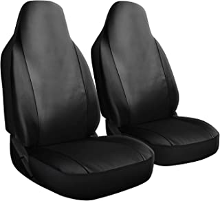 OxGord Car Seat Cover - PU Leather Solid Black with Front Low Bucket Seat - Universal Fit for Cars, Trucks, SUVs, Vans - 2 pc Set