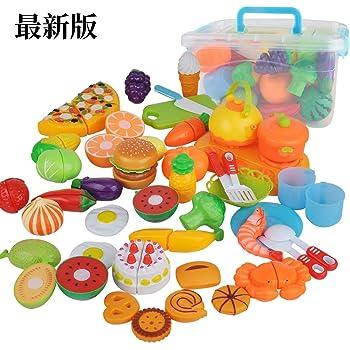 Haibeiおままごとセット 全44点 キッチン おもちゃ ごっこ遊び 海鮮 果物 野菜 食器など 安全無毒 収納ボックス付き 男の子 女の子 贈り物 (44点セット)