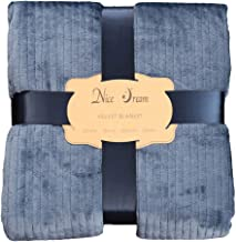 Blanket Fuzzy Flannel Fleece Throw Super Soft Fluffy Single Bed,Solid Color with a Touch (Size : 152 * 234CM),Blue