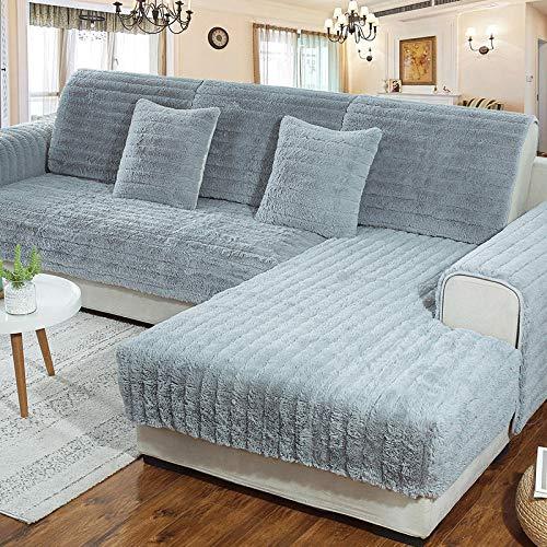 B/H Winter Anti-rutsch sofabezug,Dickes warmes Plüschsofakissen,rutschfeste weiche Sofabezug-grau_70×70cm,Möbel Protector Haustier Hund & Kinder