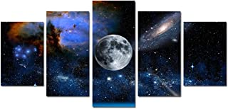 Canvas Wall Art Moon Painting - Modern Artwork Blue and White Outspace Galaxy Nebula Pictures high Definition Giclee Print Wall Decoration Office Living Room Bedroom Decor 5 Pieces Unframed Poster