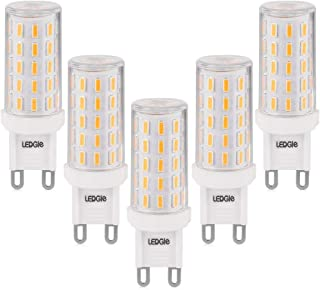 LEDGLE 6W G9 LED Light Bulbs,60W Halogen Equivalent, 54LEDS,420lm,Warm White, 2800K, No-Flicker, Non-dimmable,Wide Beam Angle for Home Lighting,5 Pack