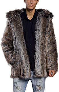 TOTOD Fashion Mens Leopard Warm Thick Fur Collar Coat Jacket -Men Faux Fur Parka Outwear Cardigan