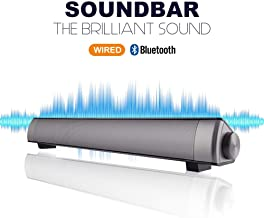 Bluetooth Sound Bar Portable Soundbar Wireless Speakers for Home Theater Surround Sound with Built-in Subwoofers for TV/PC/Phones/Tablets with Remote Control