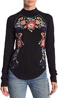 Womens Disco Rose Embroidered Long Sleeves Pullover Top