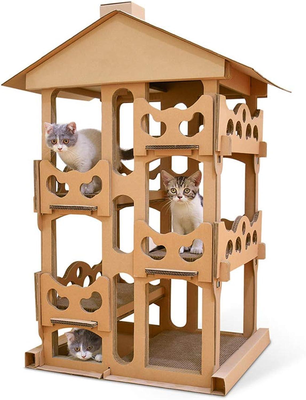 LiRongPing DIY cat climbing frame, multilayer corrugated large pet supplies, 40in high