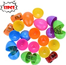 DDIGEjin 12 Toys Filled Surprise Eggs, 2.5 In Bright Colorful Prefilled Plastic Surprise Easter Eggs with 6 Kinds of Popular Toys