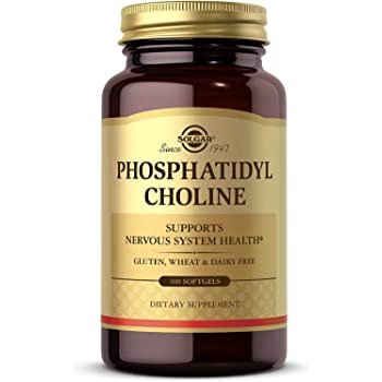 Solgar Phosphatidylcholine, 100 Softgels - Promote Healthy Cognitive Function - Derived From Lecithin - Contains Choline for Neurotransmitter Acetylcholine - Gluten Free, Dairy Free - 50 Servings