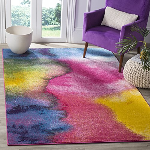 Safavieh Water Color Collection WTC621C Green and Fuchsia Area Rug, 5'3' x 7'6'