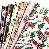 RUSPEPA Geschenkpapierpapier - Weihnachtsmann- Und Schneemann-Design, Perfekt Für Weihnachten, Feiertage, Babyparty-Geschenkpapier - 1 Rolle Enthält 6 Blatt - 44,5 X 76 cm Pro Blatt