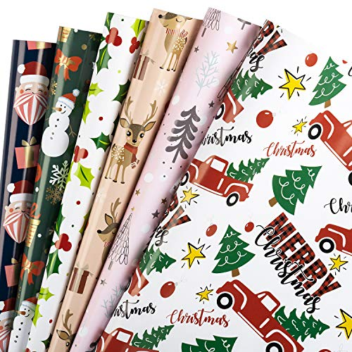 WRAPAHOLIC Wrapping Paper Sheet - Santa Claus and Red Truck with Trees Design, Perfect for Christmas, Holiday, Baby Shower - 1 Roll Contains 6 Sheets - 17.5 inch X 30 inch Per Sheet