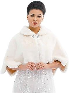 Ushiny - Sciarpa da sposa in finta pelliccia e pelliccia per donne e ragazze