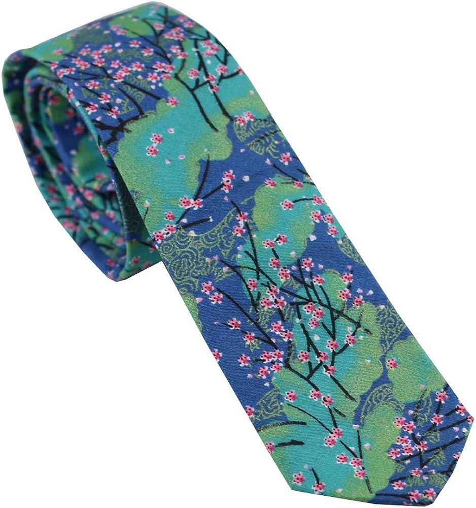 Coachella Ties Blue Green Flowers Cotton Necktie Skinny Tie Pocket Square Bowtie (Tie)