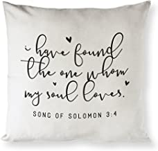 The Cotton & Canvas Co. I Have Found The One Whom My Soul Loves Song of Solomon 3:4 Religious, Bible Verse Home Decor Pillow Cover, Cushion Cover and Throw Pillow Case (Natural Color, Not White)